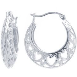 Starfish Box Filigree Hearts Silver Tone Hoop Earrings