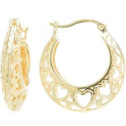 Starfish Box Gold Tone Filigree Heart Hoop Earrings