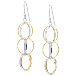 Lily Maris Two Tone Linear Multi Hoop Earrings