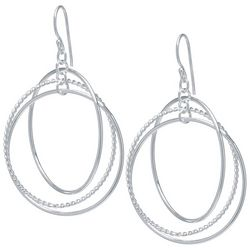 Lily Maris Triple Ring Silver Tone Earrings