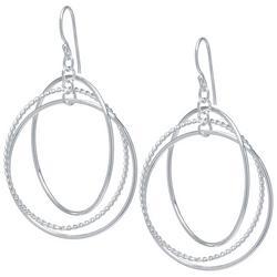 Triple Ring Silver Tone Earrings