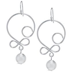 Lily Maris Silver Tone Scroll Dangle Earrings