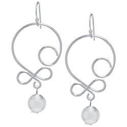 Silver Tone Scroll Dangle Earrings