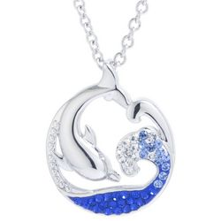 Florida Friends Dolphin Wave Pendant Necklace