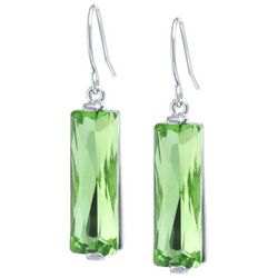 Lily Maris Green Glass Multi-Faceted Dangle Earrings