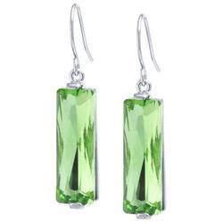 Green Glass Multi-Faceted Dangle Earrings
