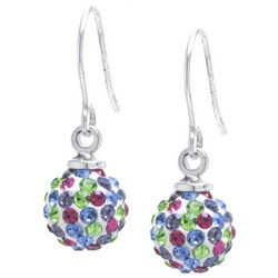 Lily Maris Multi-Color Pave Rhinestone Ball Drop Earrings