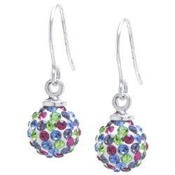 Multi-Color Pave Rhinestone Ball Drop Earrings