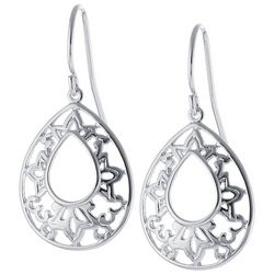 Lily Maris Filigree Teardrop Silver Tone Earrings