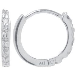 Lily Maris Rhinestone Silver Tone Huggie Hoop Earrings