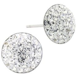 Lily Maris Pave Rhinestone Round Stud Earrings