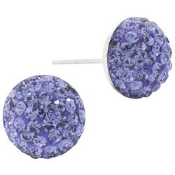 Lily Maris Purple Pave Rhinestone Round Stud Earrings