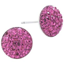 Lily Maris Pink Pave Rhinestone Stud Earrings