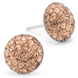Lily Maris Pave Peach Rhinestone Stud Earrings