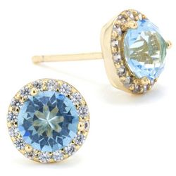 Crystals from Swarovski Halo Gold Tone Stud Earrings