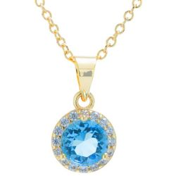 Crystals from Swarovski Halo Pendant Gold Tone Necklace