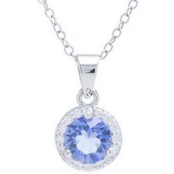 Crystals from Swarovski Halo Pendant Silver Tone Necklace