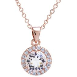 Crystals from Swarovski Halo Pendant Rose Gold Tone Necklace