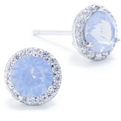 Crystals from Swarovski Halo Silver Tone Stud Earrings