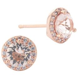 Crystals from Swarovski Rose Gold Tone Halo Stud Earrings