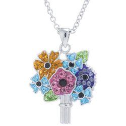 Florida Friends Crystal Elements Flower Bouquet Necklace
