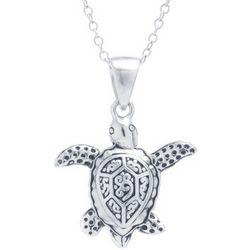 Sora Silver Tone Sea Turtle Pendant Necklace