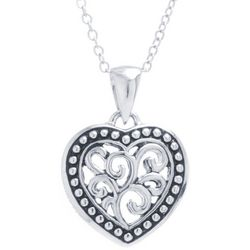 Sora Silver Tone Filigree Heart Pendant Necklace