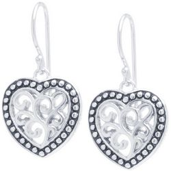 Sora Silver Tone Filigree Heart Earrings