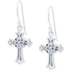 Sora Silver Tone Ornate Cross Dangle Earrings
