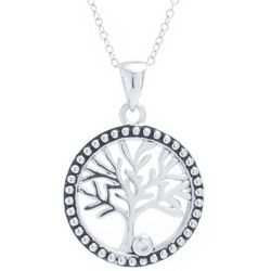 Sora Silver Tone Tree Of Life Pendant Necklace