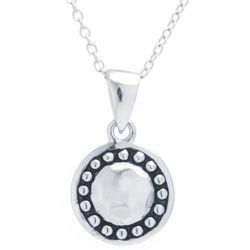 Sora Textured Round Pendant Necklace