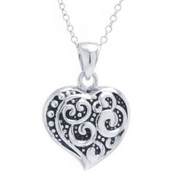 Sora Textured Heart Pendant Necklace