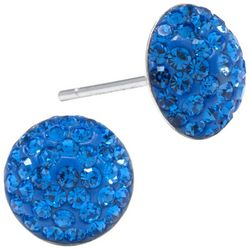 Sterling Earrings Pave Blue Crystal Elements Earrings