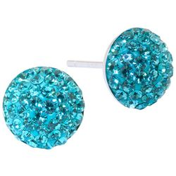 Sterling Earrings Pave Aqua Blue Crystal Elements Earrings