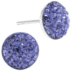 Sterling Earrings Pave Purple Crystal Elements Earrings