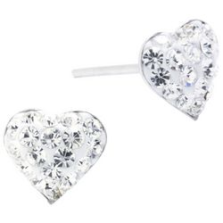Sterling Earrings Pave Crystal Clear Heart Stud Earrings