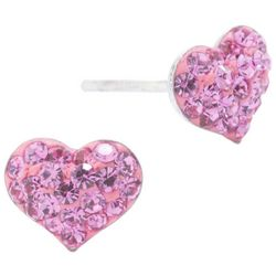 Signature Pave Heart Pink Crystal Elements Earrings
