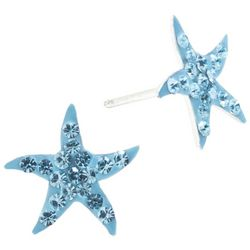 Sterling Earrings Aqua Blue Crystal Starfish Stud Earrings