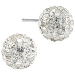 Sterling Earrings Pave Clear Crystal Ball Stud Earrings