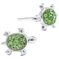 Sterling Earrings Green Turtle Stud Earrings