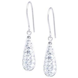 Sterling Earrings Pave Crystal Clear Teardrop Earrings