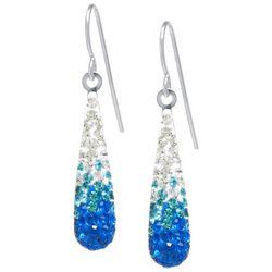 Sterling Earrings Blue Crystal Ombre Teardrop Earrings