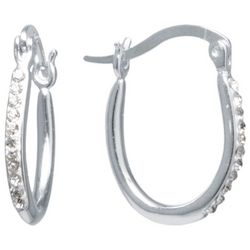 Sterling Earrings Crystal Clear Click It Hoop Earrings