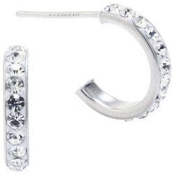 Sterling Earrings Crystal Clear Half Hoop Earrings