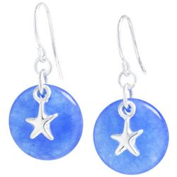 Beach Chic Blue Quartz Starfish Charm Drop Earrings