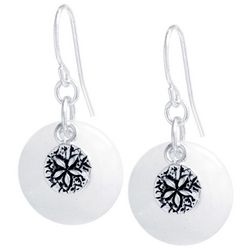 Beach Chic Quartz Sand Dollar Drop Earrings