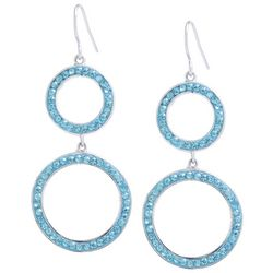Beach Chic Aqua Blue Stone Double Ring Drop Earrings