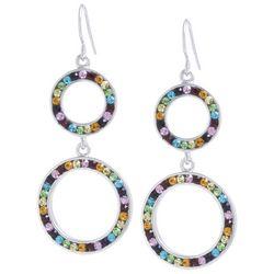 Beach Chic Rhinestone Double Ring Drop Earrings