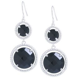 Beach Chic Black Stone Double Round Drop Earrings