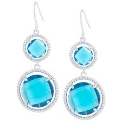 Beach Chic Blue Stone Double Round Drop Earrings